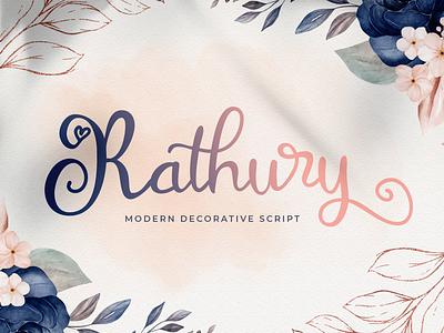 Rathury - Modern Decorative Script Font script whimsical ligature elegant handdrawn casual stylish lovely feminime modern luxury signature handwritten handlettering calligraphy