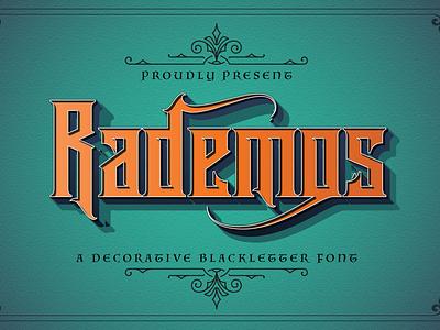 Rademos - Blackletter Font graffiti brush lettering calligraphy handlettering handdrawn fraktur medieval display decorative gothic tattoo blackletter