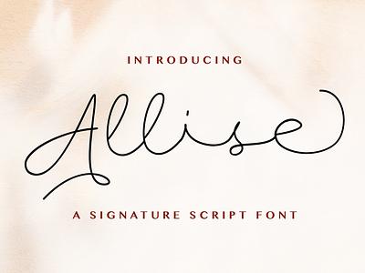 Allise - Signature Script Font whimsical ligature elegant handdrawn casual stylish classy feminime modern luxury signature script handwritten handlettering calligraphy