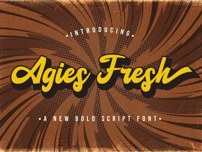Agies Fresh - Retro Bold Script Font hipster sporty 80s classic typeface groovy handdrawn handlettering vintage calligraphy script bold lettering cursive retro