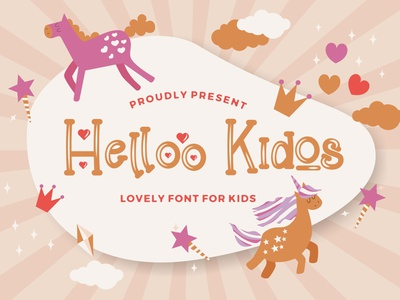 Helloo Kidos - Playful Display Font kindergarten multilingual quirky children cute preschool handwritten fun calligraphy handlettering kids playful beautiful decorative