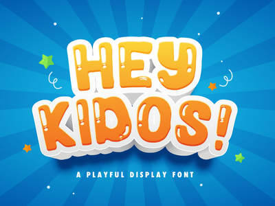 Hey Kidos! - Playful Display Font kindergarten multilingual quirky children cute preschool handwritten fun calligraphy handlettering kids playful beautiful decorative