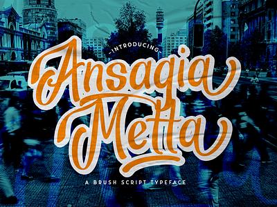 Ansagia Metta - Bold Script Font multilingual font groovy stylish logotype handdrawn handlettering classy vintage retro puaencode brush calligraphy script bold
