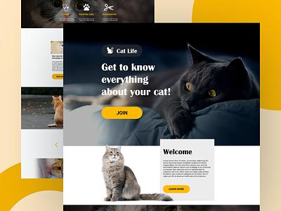 Cat Life Landing web ui design