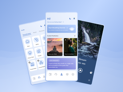 Meditation App uxui application app design app typography uxdesign ui  ux uidesign ux meditation app meditation ui design app concept
