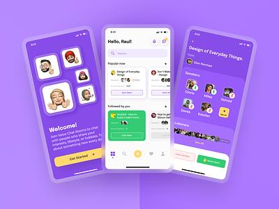 App similar to Clubhouse minimal typogaphy art concept user interface design search onboarding illustrator card dailyui ui design uiux design uiux audio app chat app design app ui