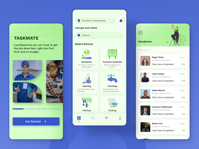 On-Demand Home Service App Similar to TaskRabbit illustration ux application app minimal on demand app home services app design typography app concept ui
