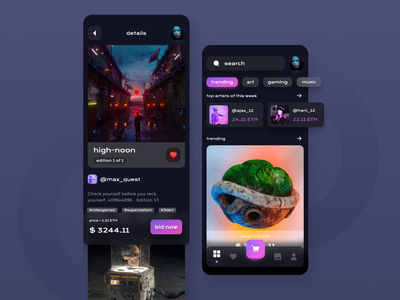 An App for NFT marketplace minimal application app design app dashboard ux app concept ui bitcoin ethereum crypto exchange cryptocurrency marketplace nft