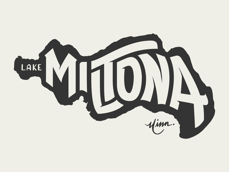 Lake Miltona for Lakes Supply Co. musky muskie lake miltona miltona mn shirt t-shirt apparel minnesota outdoors lake handlettering fishing hand lettering