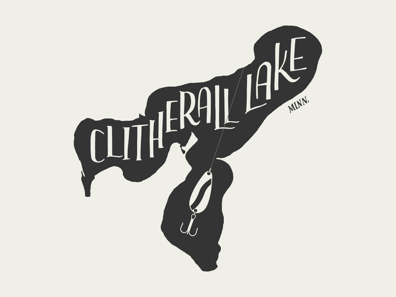 Clitherall Lake for Lakes Supply Co. clitherall lake clitherall lake clitherall mn illustration t-shirt apparel minnesota outdoors lake handlettering fishing hand lettering