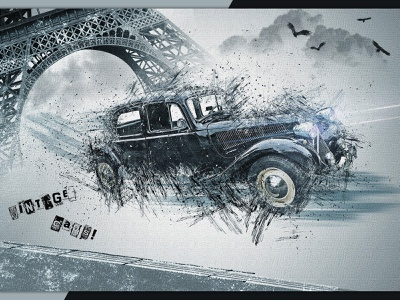 Vintage car 3 poster digital art photomontage typography graphic design illustration print compositing psd photoshop