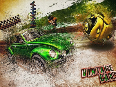 Vintage cars 4 typography affiche photomanipulation photomontage poster print compositing psd illustration photoshop
