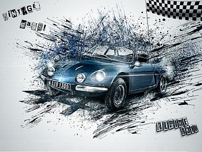 Vintage cars 5 typographic design digital art affiche typography photomontage poster print photomanipulation psd photoshop