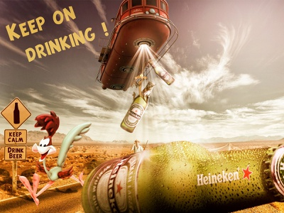 Keep on drinking ! digital art typography affiche psd print poster photomontage photomanipulation compositing photoshop