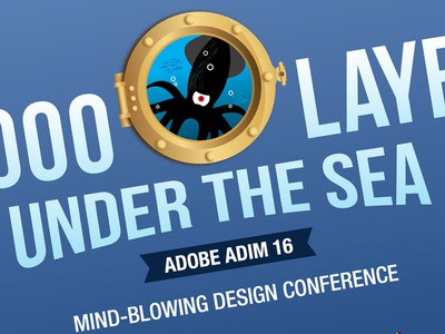 Adobe ADIM16: Porthole Logo 20000 leagues under the sea green blue illustrator squid porthole conference logo sea adobe