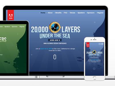 Adobe ADIM16: Website iphone website responsive 20000 leagues under the sea green blue illustrator conference logo sea adobe
