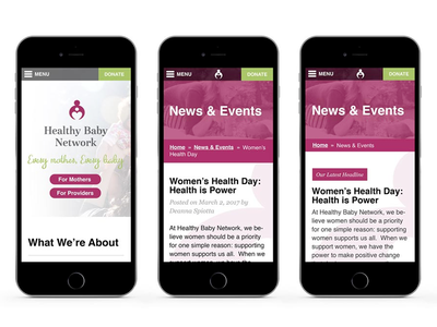 HBN Site non-profit mothers mockup directory baby perinatal mobile