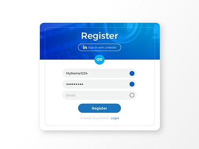 Signup/Registration Form - Daily UI 001 001 blue registration linkedin form signup dailyui