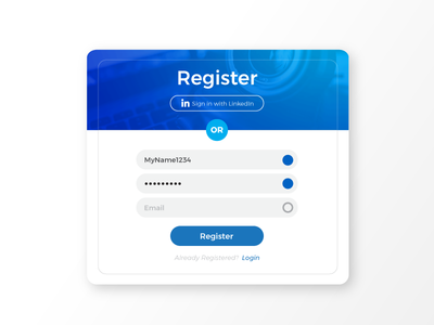 Signup/Registration Form - Daily UI 001 001 blue registration linkedin form signup dailyui
