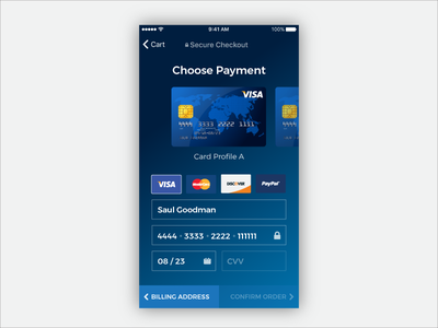 Credit Checkout - Daily UI 002 visa mobile ios blue payment checkout card credit dailyui