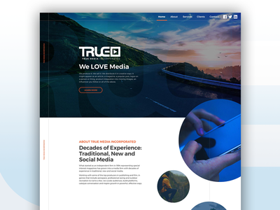 True Media Inc. Homepage Concept social blue adventure media true