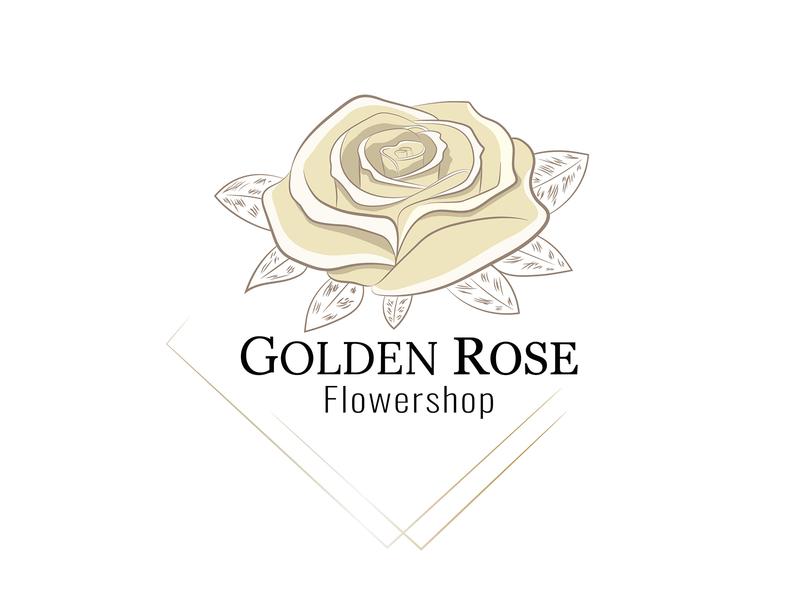 Golden Rose rose logodesign illustration logo