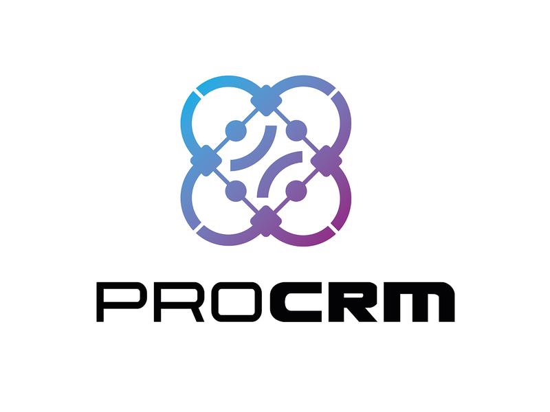 ProCRM logo information technology simple tech logo logo design
