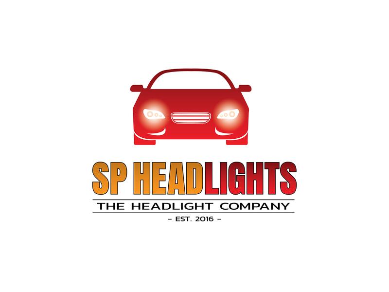 SP Headlights lights carlogo headlights flat branding logodesign cars logo