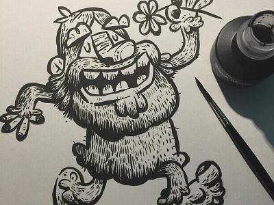 Sasquatch brush character design character inks