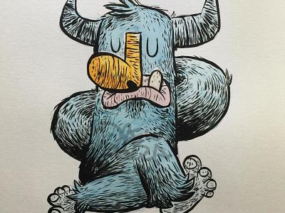 Cowface dr. ph martin windsor and newton ink brush monster yoga