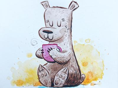 Momma Bear character design bear brushes inks