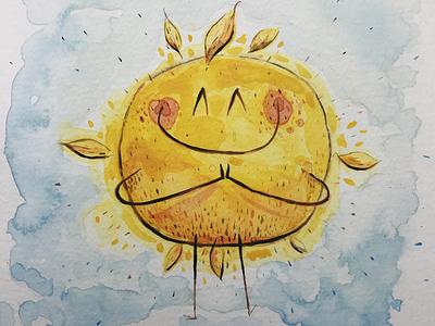 Sun yoga character design sun watercolors