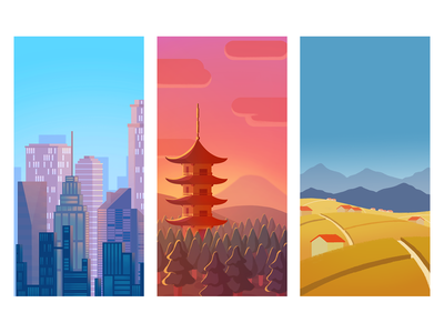 Quixel - Background Illustrations japan digital art visual development bright colors fields pagoda city illustration landscape illustration landscape background design backgrounds illustration game background game artist game art
