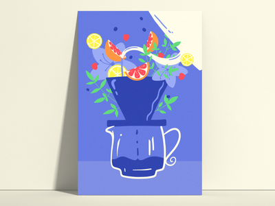 Remember to bloom your coffee. fruit berries flowers coffee lover blossom citrus poster art poster aroma floral fruity blooming coffee break drip coffee colors adobefresco digitalart digitalillustration illustration