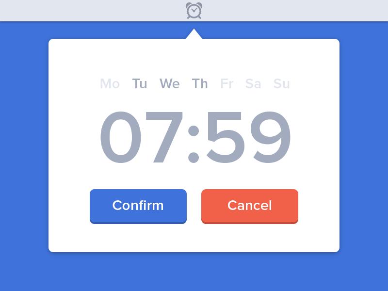 Alarm Clock Widget [PSD] app ui widget freebie white blue