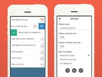 Reminder App (Main & Settings Screens)