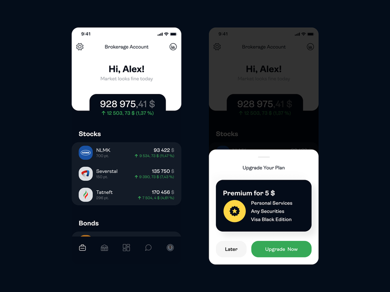 Investment App finance dark ios ui iphone app