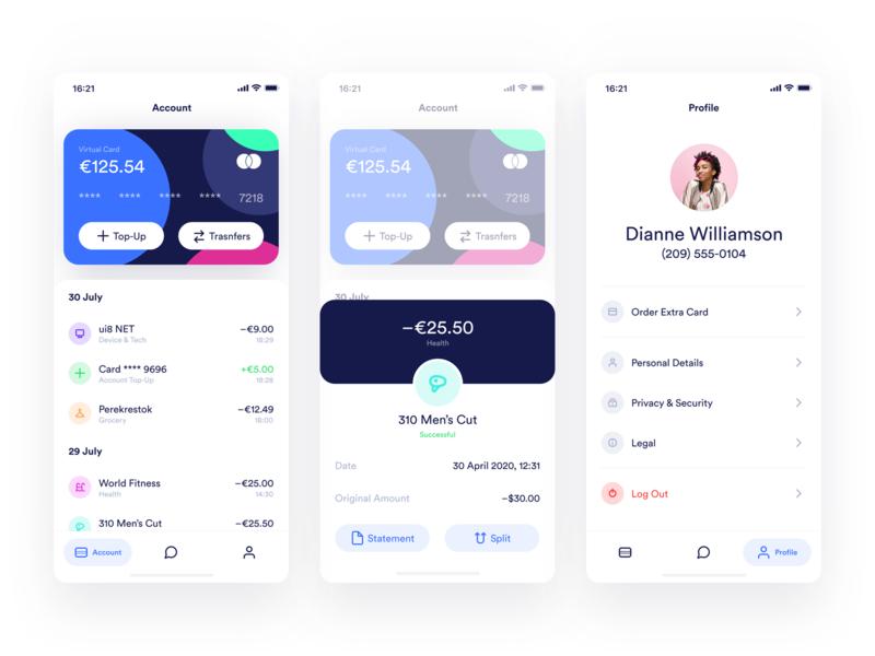 MultiPay — Account, Transcation & Profile Screens design dark finance ios ui iphone app