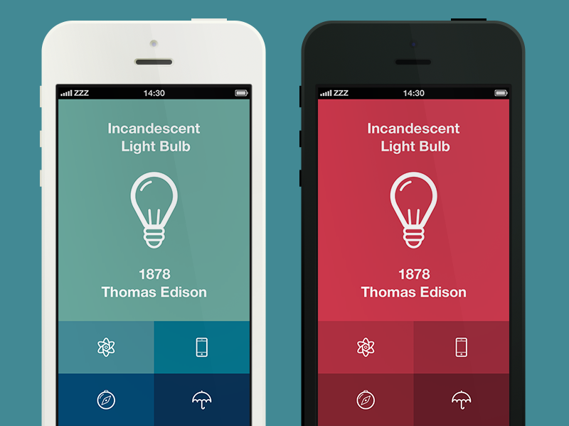 Invention Of The Day App app ui iphone flat invention red blue green