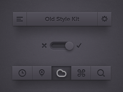 Old Style UI Kit [Freebie] ui freebie kit dark app old style button switch ipad iphone psd
