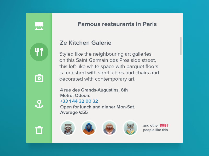 Restaraunt Widget [Freebie] app ui widget freebie white blue restaurant food paris