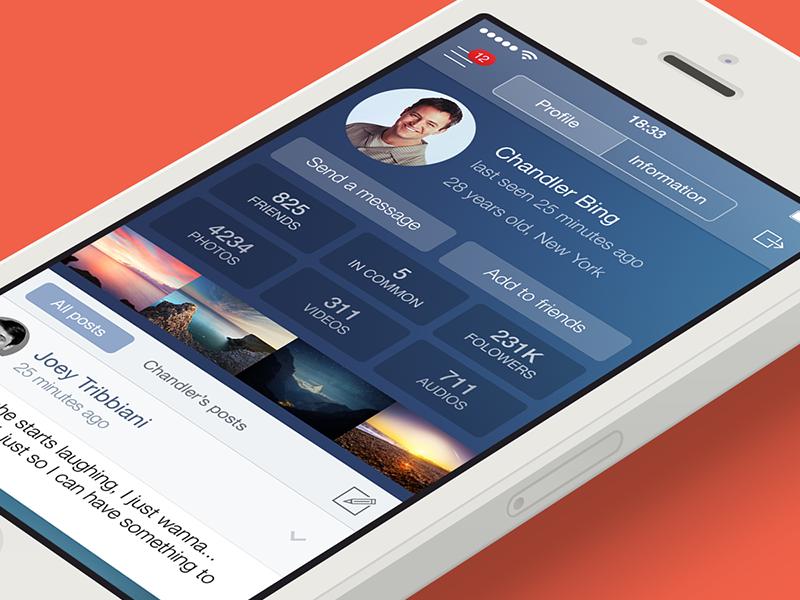 VK Social App [Main Screen] app ui iphone contest vk flat