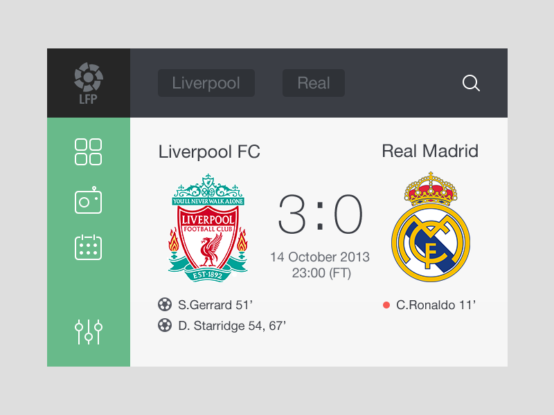 Soccer Widget [Freebie] widget app soccer football ui freebie psd
