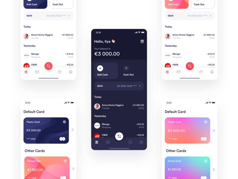 MultiPay — More Exploration finance dark gradient ios ui iphone app