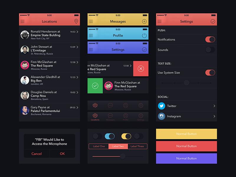 UI Kit for Marvel App app ui kit marvel dark
