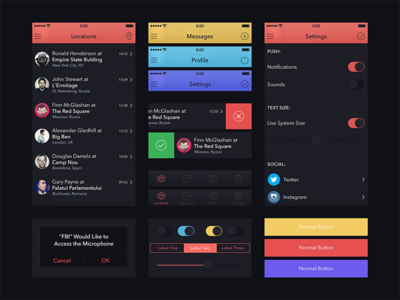 UI Kit for Marvel App app ui kit marvel dark