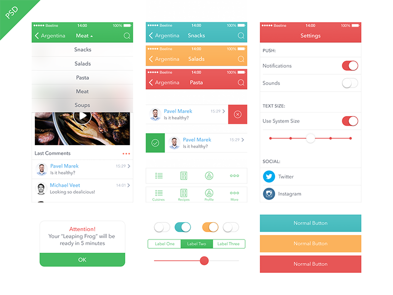 Food App Kit iOS 7 [Freebie] food app ui iphone ipad ios7 freebie blur kit health