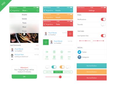 Food App Kit iOS 7 [Freebie] food app ui iphone ipad ios7 freebie blur kit health