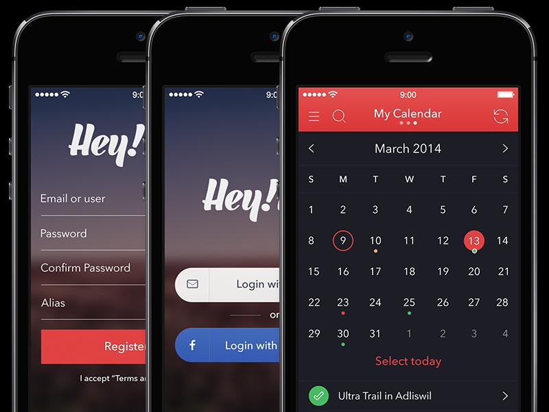 hey race app login register and calendar dark screens by