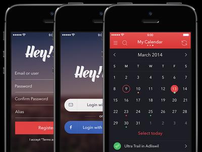 Hey!Race App [Login, Register and Calendar Dark Screens]